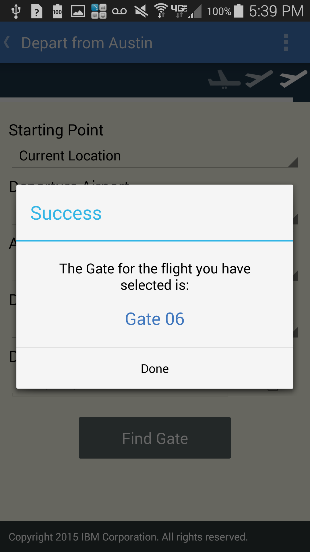 Screenshot of found gate from IBM Accessible Airport App