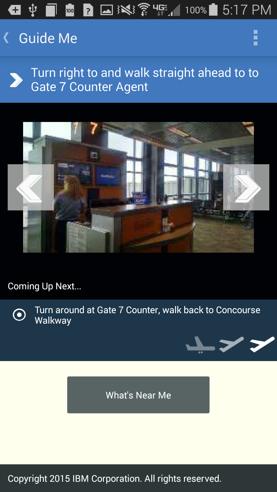 Screenshot of step by step directions from IBM Accessible Airport App