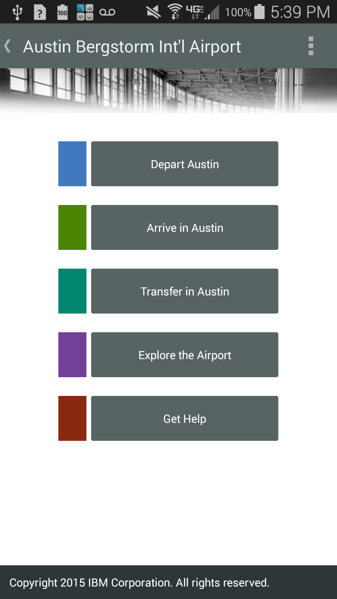 Screenshot of home screen from IBM Accessible Airport App