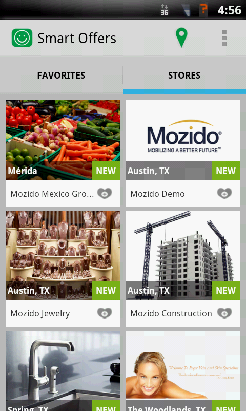 Screenshot of businesses screen from Mozido Smart Offers App