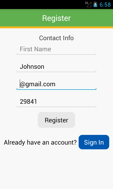 Screenshot of user registration screen from Mozido Smart Offers App